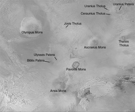 Oblast Tharsis, Olympus Mons a tři sopky.